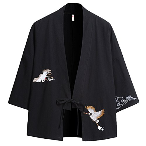 PRIJOUHE Men's Japanese Kimono Jacket Cardigan Yukata Noragi Casual Fashion Seven Sleeves Lightweight Open Front Coat