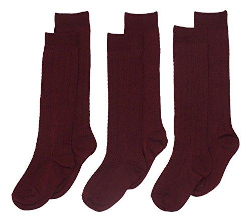 3 Pack Blue Heaven Girl's Cable Knit Knee High Socks 5-6 Burgundy -