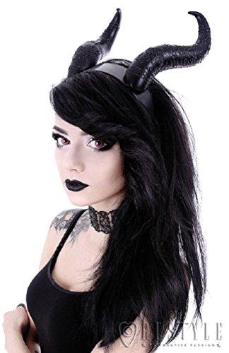Restyle Gothic Hair Headband Maleficent Horns Nu Goth - Black (One-Size) (Maleficent Headdress)