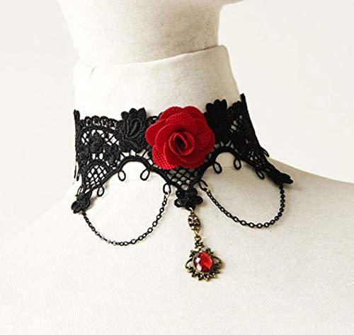 DLciwi Women Choker, Apparel Women Vintage Retro Black Central Rose with Fake Ruby Pendant Hollow Out Gothic Lace Chain Tatoo Choker Necklace for Halloween Girls Friendship Valentin