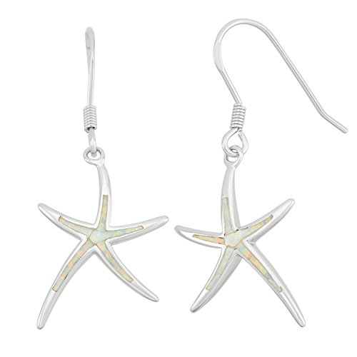 Sterling Silver Created White Opal Starfish Dangling Earrings