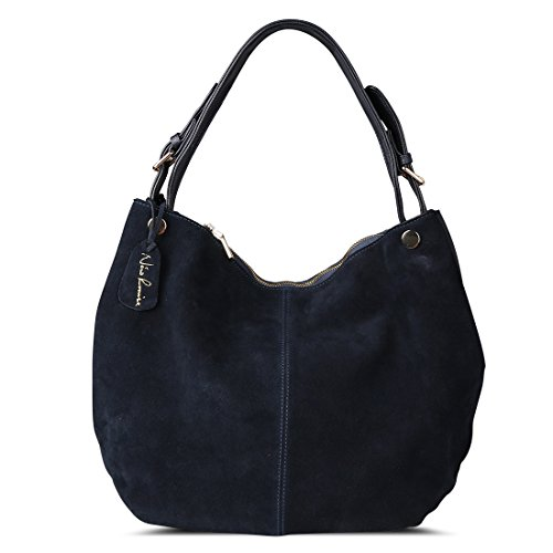 Handbag Suede Purse Leather (Nico Louise Women's Genuine Leather Suede Purse Shoulder Bag Casual Hobo bag(Deep Blue))