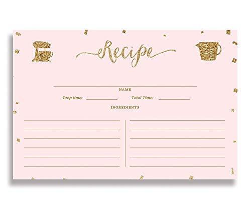 Blush Gold Recipe Cards (Set of 25) 4x6 inches. Double Sided Card Stock Recipe Card Set | Stella Blush