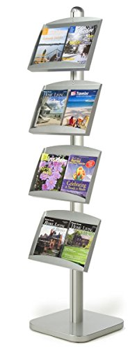 Floor Literature Stand with 4 Height-Adjustable Brochure Shelves, Double-Sided - Silver, Aluminum and Steel by Displays2go