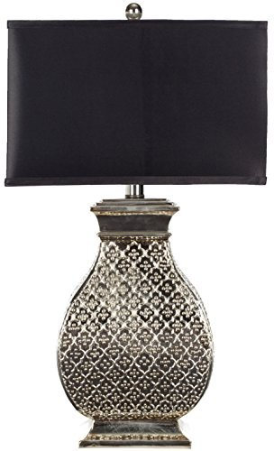 Safavieh Lighting Collection Malaga Silver 29-inch Table Lamp (Hammered Metal Table Lamp)