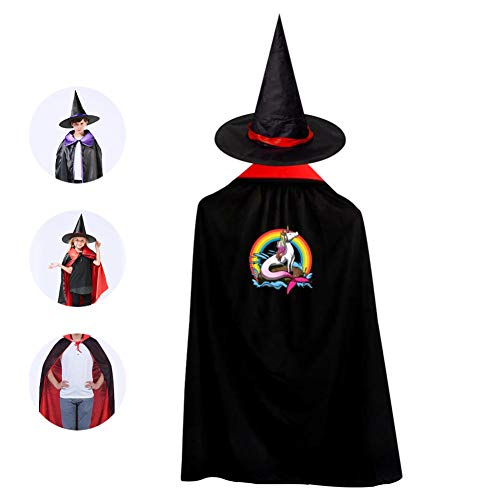 69PF-1 Halloween Cape Matching Witch Hat Unicorn Mermaid Wizard Cloak Masquerade Cosplay Custume Robe Kids/Boy/Girl Gift Red