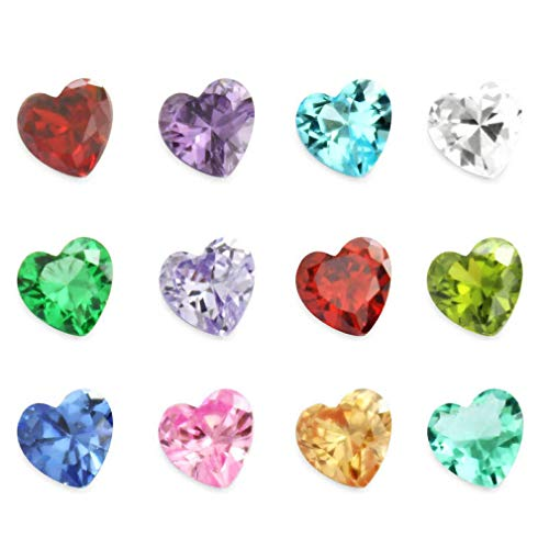 24Pcs 5mm Cubic Zirconia CZ Heart Birthstones 12 Month Charms Floating Bracelets Living Memory Locket Necklace Pendant -