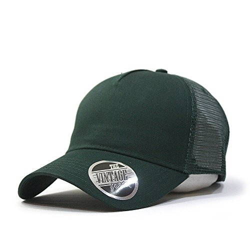 Vintage Year Plain Cotton Twill Mesh Adjustable Snapback Trucker Baseball Cap (Dark Green) - Green Twill Mesh Cap