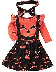 Baby Girl My 1st Halloween Pumpkin Suspender Skirt Romper Headband Clothing Outfits Set