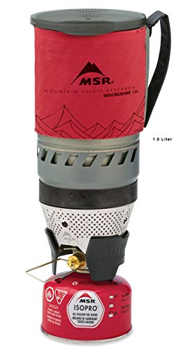 MSR WindBurner Stove System for Fast Boiling Fuel-Efficient Cooking for Backpacking, Solo Travelers, and Minimalist Trips, 1.0-Liter, Red - Fast Stove