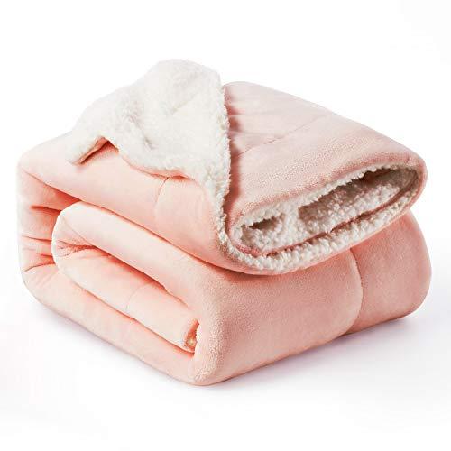 Bedsure Sherpa Fleece Blanket Throw Size Dusty Pink Plush Blanket Fuzzy Soft Blanket Microfiber