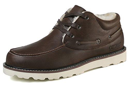 OZZEG Cuir hommes mocassins lacets du pont des embarcations chaussures mocassins en peau de mouton doublure (42, Café)
