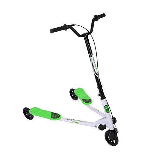 LAZYMOON Green Y Flicker Scooter 3 Wheels Kids Drafting Kick Scooter for Boys/Girls Aged 5+