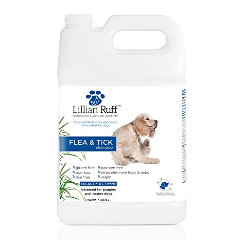 Tick Shampoo Gallon - Lillian Ruff Flea and Tick Shampoo for Dogs with Aloe Vera - Soothe The Itch and Repel The Critters with Natural Essential Oils - Balanced for Puppies and Mature Dogs (Gallon)