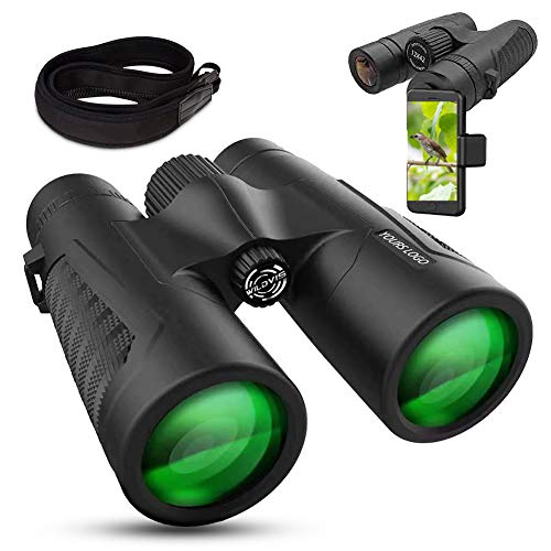 WildVis 12x42 Binoculars for Adults Compact Binocular Prism BAK4 FMC Lens Waterproof HD Binoculars for Bird Watching Hunting with Carrying Bag