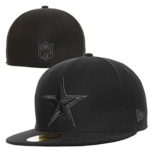 New Era NFL Officially Licensed Dallas Cowboys Black Embroidered Fitted Flat Bill Baseball Hat Cap Lid (Size 7) (Nfl Black 59fifty Hat)