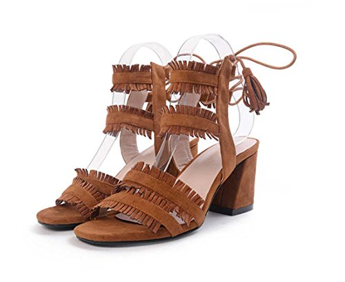 Women Strap Heel Court Shoes Toe Sandal Brown Lace High for Roman Style Cross Open Tassel SAqHwPgTET