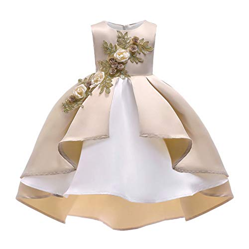 AYOMIS Girl Dress Princess Gowns Party Flower Christmas Wedding Dresses(Champagnge,4-5Y) ()