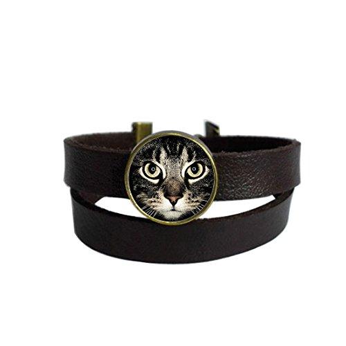 LooPoP Vintage Punk Dark Brown Leather Bracelet Lucky Cat Eye Steampunk Pet Glass Dome Cabochon Belt Wrap Cuff Bangle Adjustable