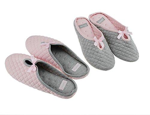FakeFace - Zapatillas de estar por casa de Algodón para mujer Gris-EURO 38/39: Amazon.es: Ropa y accesorios