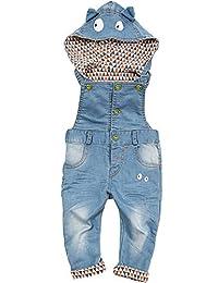 Kidscool Baby Boys/girls Eye Style Hat Hooded Denim Overalls