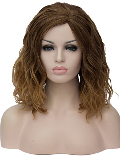 - TopWigy Women Cosplay Wig Brown Wigs Medium Length Curly Body Wave Colorful Heat Resistant Hair Wigs Costume Party Bob Wig (Ombre Brown 14