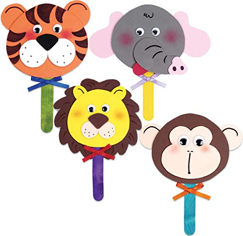 Superior Home Arts Set of 4 Foam Craft Kits Zoo Animal Faces on Sticks Bundle of 4 Projects 48-Pieces Total- 1 Lion, 1 Tiger, 1 Elephant, 1 Monkey Fun Jungle - Zoo Animal Craft Foam