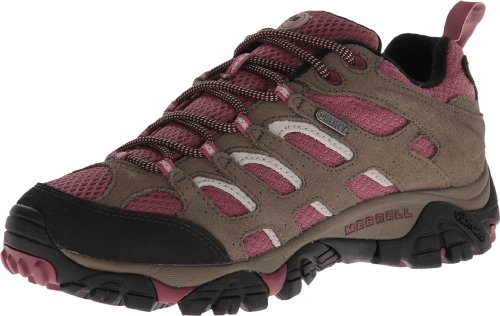 Merrell Women's Moab Waterproof Hiking Shoe,Boulder/Blush,7 M US by Merrell