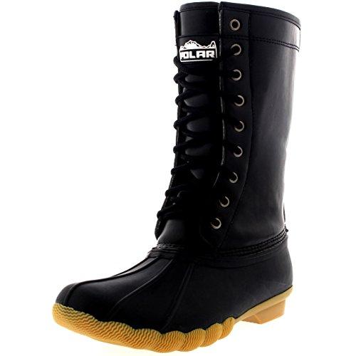 Womens Tall Winter Deep Tread Rubber Sole Snow Rain Boots Black