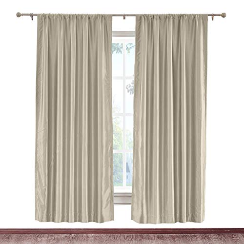 cololeaf Extra Wide Soft Faux Dupioni Silk Curtain Panel Rod Pocket Hanging Style Energy Efficient Home Fashion Drape for Bedroom Living Room, Beige 150