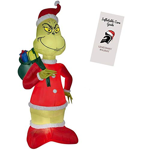 Grinch Inflatable Christmas Decoration - Grinch Steals Christmas in Santa Suit with Sack of Presents 8 ft Tall with Inflatable Care Guide