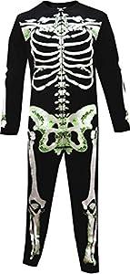 Unisex Glow In The Dark Skeleton Bones Onesie Pajama for men