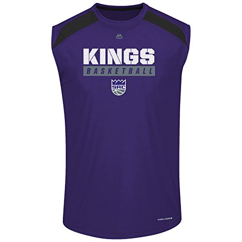 NBA Sacramento Kings Men's Big & Tall Team Synthetic Pieced Muscle Tee, 5X, Purple/Black