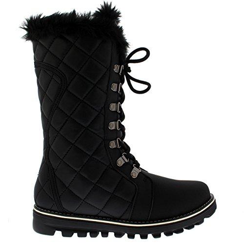 Polaire Producten Dames Doorgestikte Comfortabele Winterregen Warme Sneeuw Knielaarzen Zwart