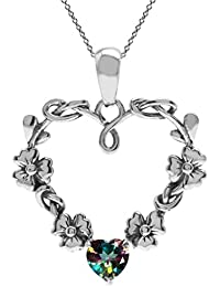 Natural Heart Shape Gemstone 925 Sterling Silver Flower Pendant w/ 18 Inch Chain Necklace