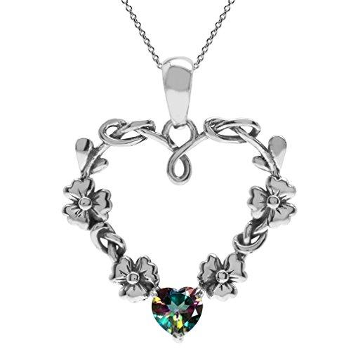 Topaz Flower Pendant (Heart Shape Mystic Fire Topaz 925 Sterling Silver Flower Pendant w/ 18 Inch Chain Necklace)