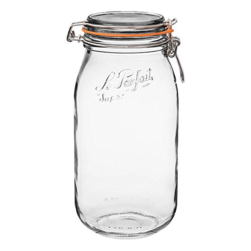 Le Parfait Super Jar - 2L French Glass Canning Jar w/Round Body, Airtight Rubber Seal & Glass Lid, 64oz/2 Quarts (Pack of 3) Stainless Wire