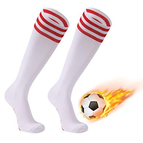 (FOOTPLUS Pro Soccer Socks, Unisex Knee High Stripe Compression Socks Breathable for Softball Rugby Baseball Team Sports, 2 Pairs White+Red Stripe, Medium)