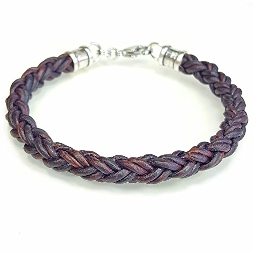 BROWN Braided Leather Rope Bracelet for Men & Women- Lucky Dog Leather- Genuine Leather- All Sizes for a Great Fit 6""