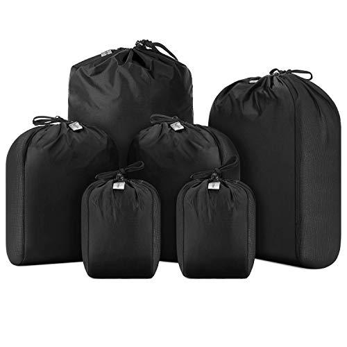 Gonex Ultralight Stretch Stuff Sack Set, Drawstring Mesh Sack Travel Organizer, 6-Pack (1L+2M+2S+1 Shoe Bag) Sack Bonus 4 Transparent Bags for Backpacking Camping Hiking Mountaineering Black