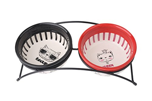 MushroomCat Pet Feeder Double Ceramic Bowls Small to Medium Dogs Cats Red White Pet Gentleman