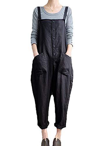 Gooket Women Plus Size Baggy Overalls Casual Wide Leg Haren Pants Rompers Jumpsuit Overalls Halloween Costume Black 4XL ()