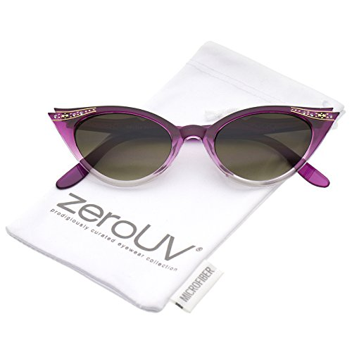 zeroUV - Women's Retro Rhinestone Embellished Oval Lens Cat Eye Sunglasses 51mm (Purple Fade / - Sunglasses Fade Lens