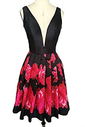 Dearta Women's A-Line V-Neck Short Mini Floral Printed Homecoming Dresses US 18