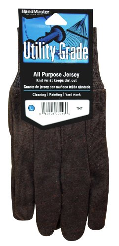 HandMaster T90T Brown Jersey Knit Wrist with Clute Pattern, Pack of 3 Pair