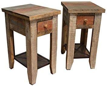 Rustic Reclaimed Wood Style Nightstand Pair  End Table  Simple Nightstand  Rustic Nightstand  Farmhouse Table  Wood Nightstand