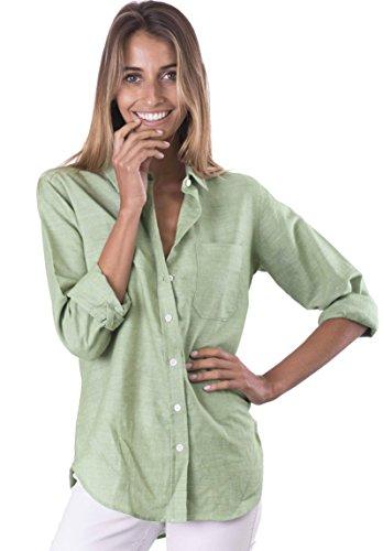 CAMIXA Women's Natural Cool Linen Button-Down Loose Shirt | Summer Winter Casual Chic XS Sage ()