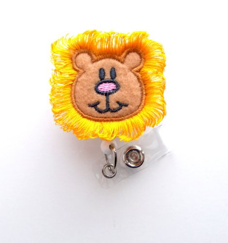 Harry The Lion - Cute Badge Reel - Nurses Badge Holder - Felt Badge Holder - Nursing Badge Holder - Cute Badge Reel - RN Badge Reel - ()