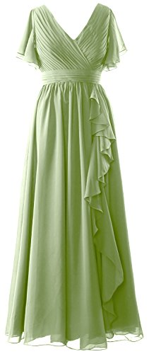 MACloth Women Short Sleeves Mother of the Bride Dress V Neck Formal Evening Gown clover
