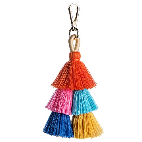 (Pom Pom Tassel Keychain for Women - Car Mirror Hanging Keyring Accessories, Bag Charm for Sisters, Friends, Kids (Blue Pink))